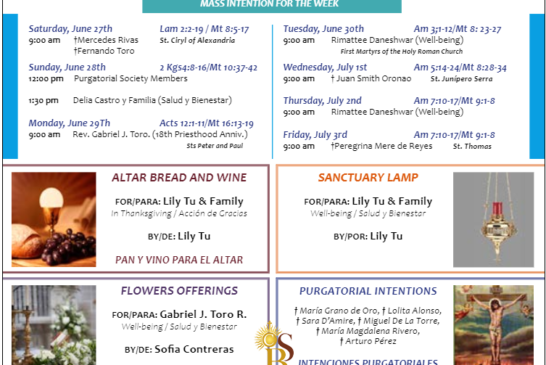 Mass Intentions June 27th - June 30th