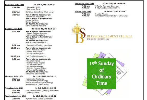 Mass Intentions July 11th – July 17th