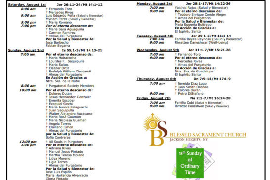 Mass Intentions August 1th – August 7th