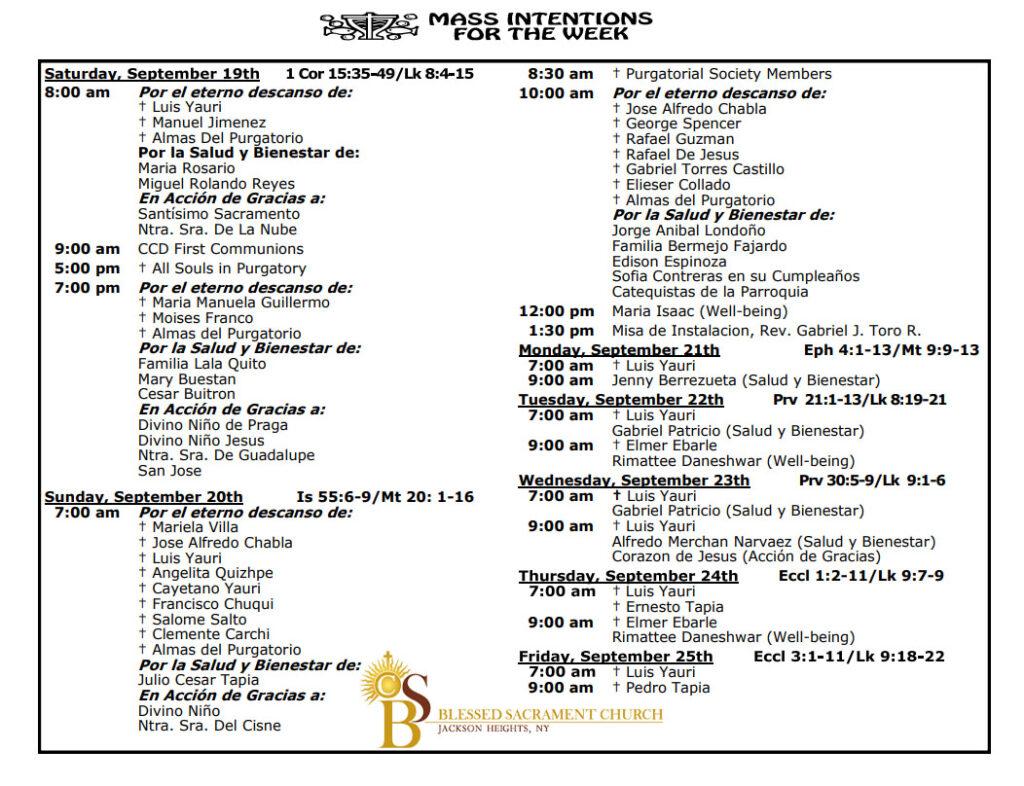 Mass Intentions September 19th – September 25th