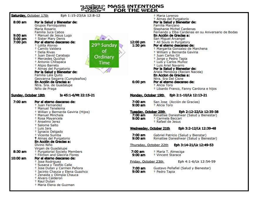 Mass Intentions October 17th – October 23th