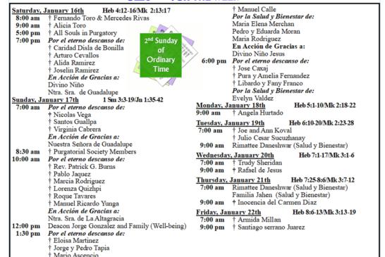 Mass Intentions January 16th – January 22th 2021