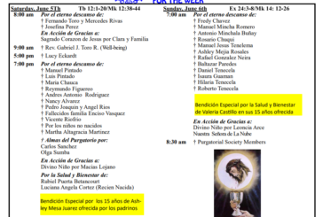 Mass Intentions June 5th - June 11th 2021