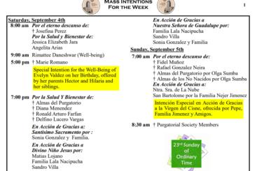 Mass Intentions September 4th - September 10th 2021