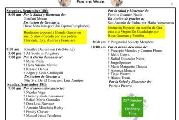 Mass Intentions September 18th - September 24th 2021